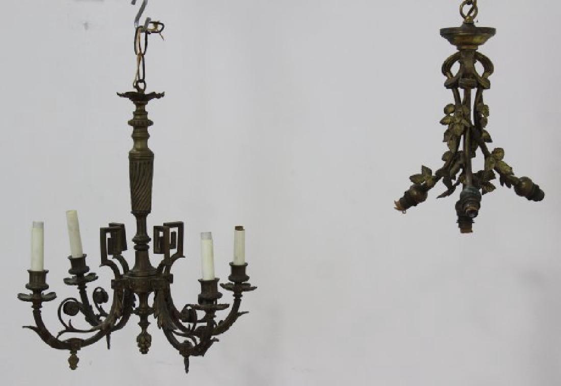 2 Small Louis XVI Style Gilt Metal Chandeliers