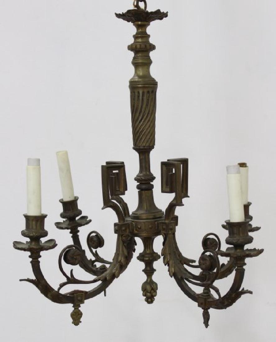 2 Small Louis XVI Style Gilt Metal Chandeliers - 2
