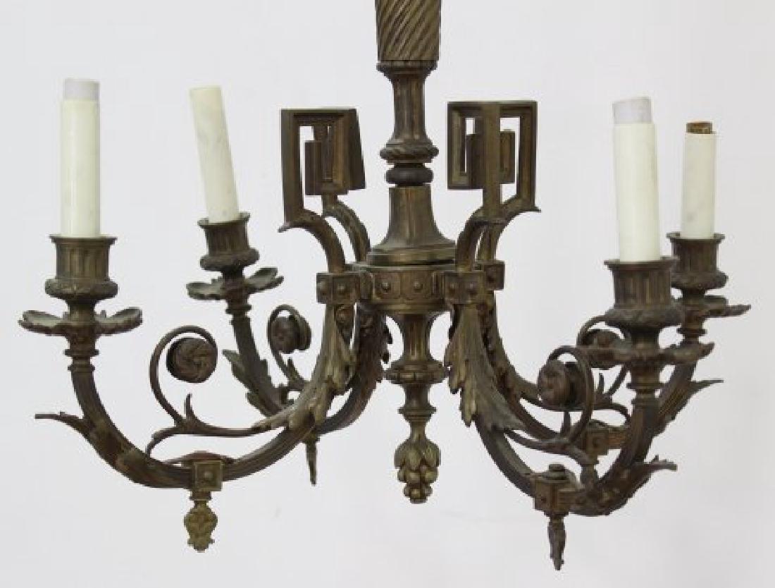 2 Small Louis XVI Style Gilt Metal Chandeliers - 3