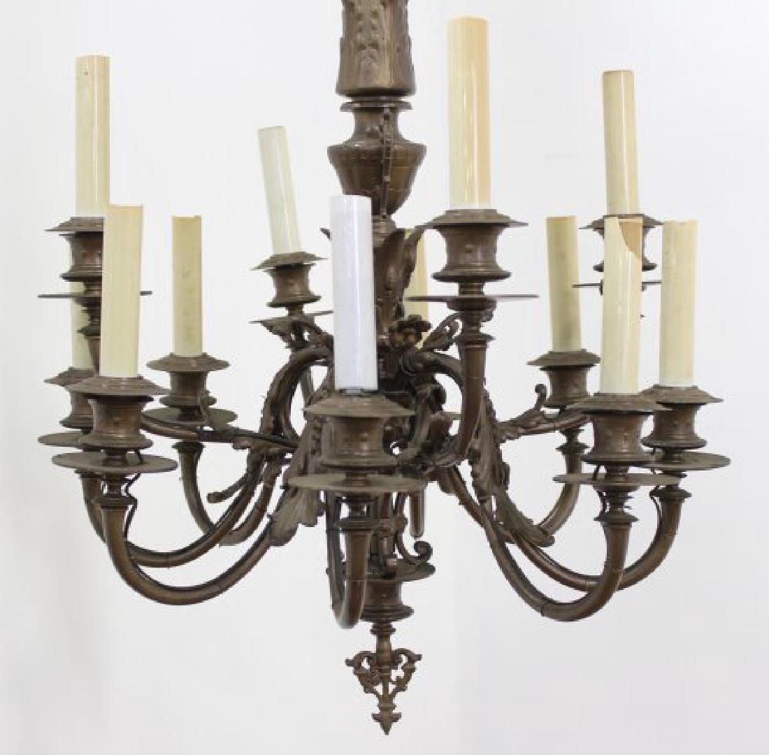 Neoclassic Style Bronze 12-Light Chandelier - 2