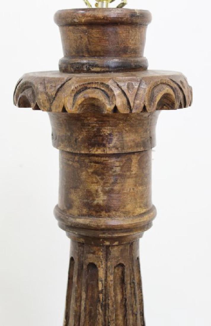 Carved Wood Floor Lamp - 2