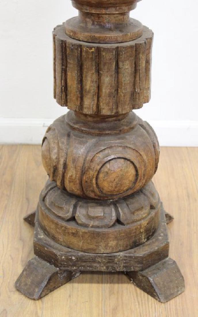 Carved Wood Floor Lamp - 3