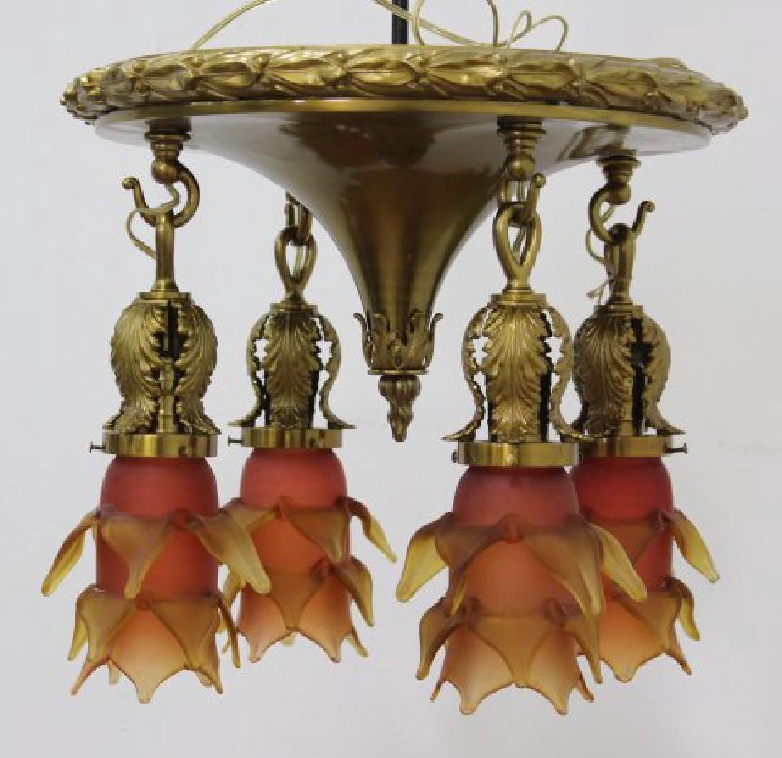 Neoclassic Style Bronze 4-Light Ceiling Fixture - 2