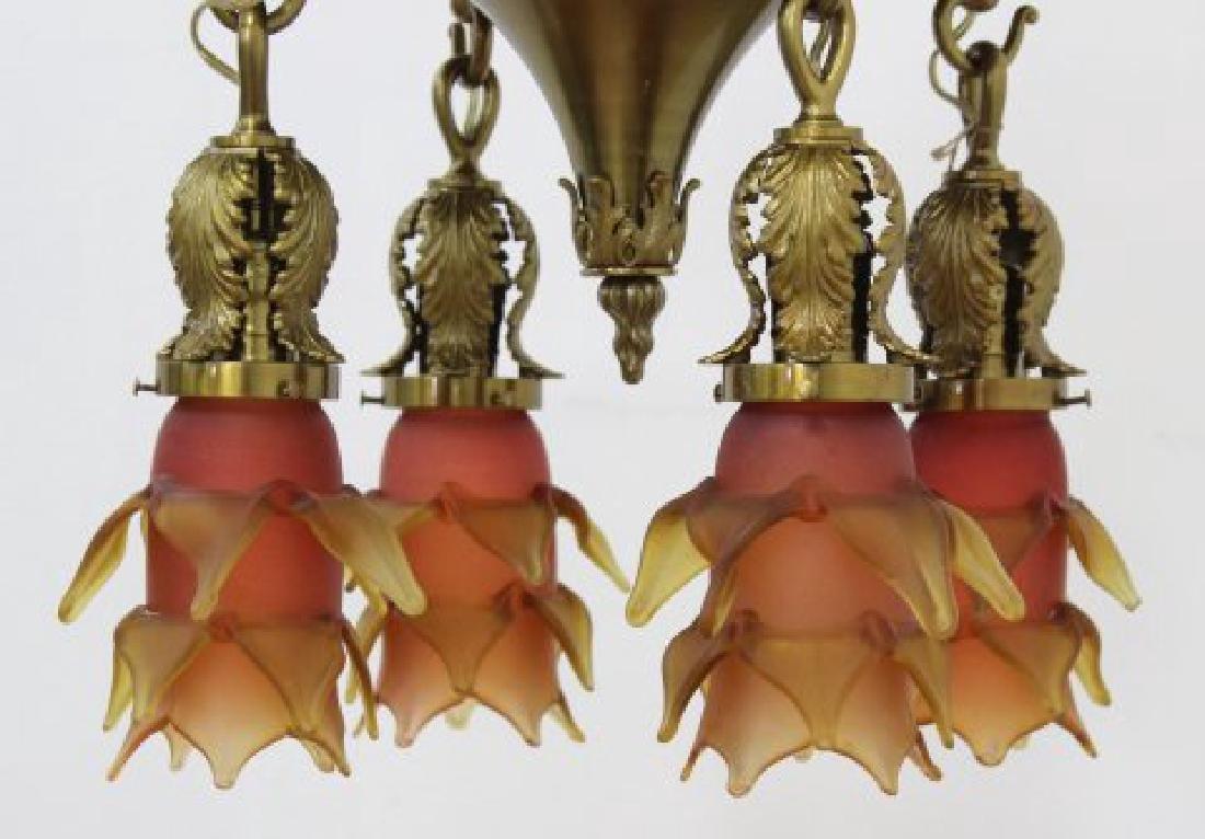 Neoclassic Style Bronze 4-Light Ceiling Fixture - 3