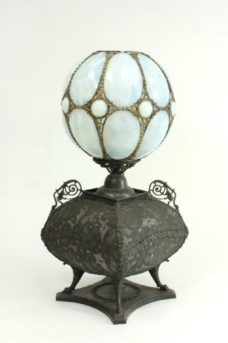 Victorian Brass & Opaline Glass Lamp