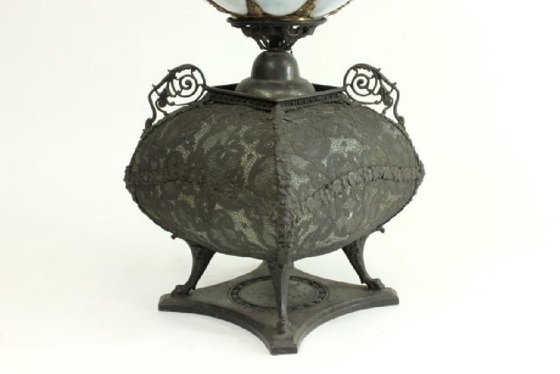 Victorian Brass & Opaline Glass Lamp - 3