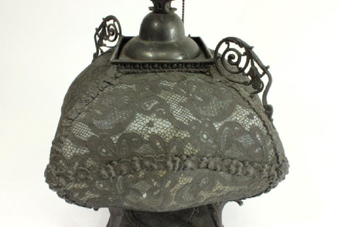 Victorian Brass & Opaline Glass Lamp - 4