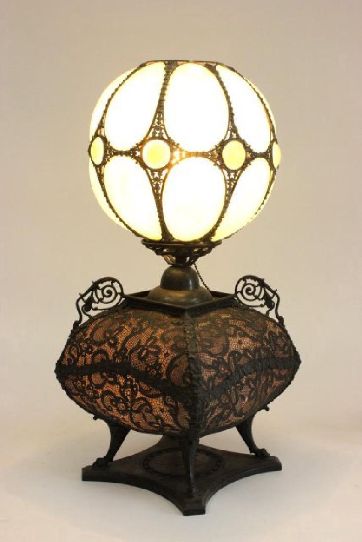 Victorian Brass & Opaline Glass Lamp - 5