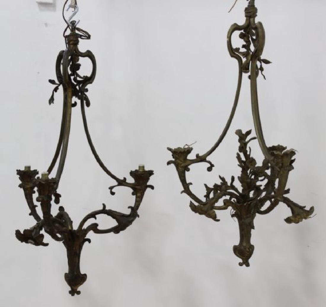 Pair Louis XV Style Foliate Bronze Chandeliers
