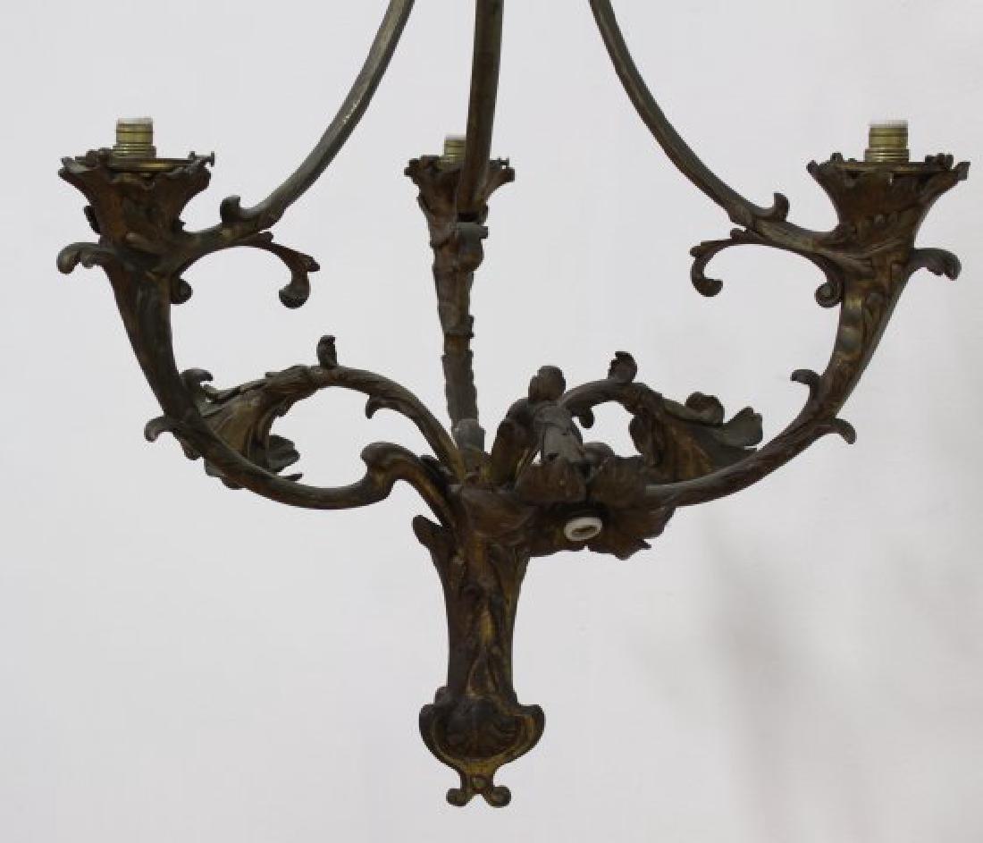 Pair Louis XV Style Foliate Bronze Chandeliers - 3