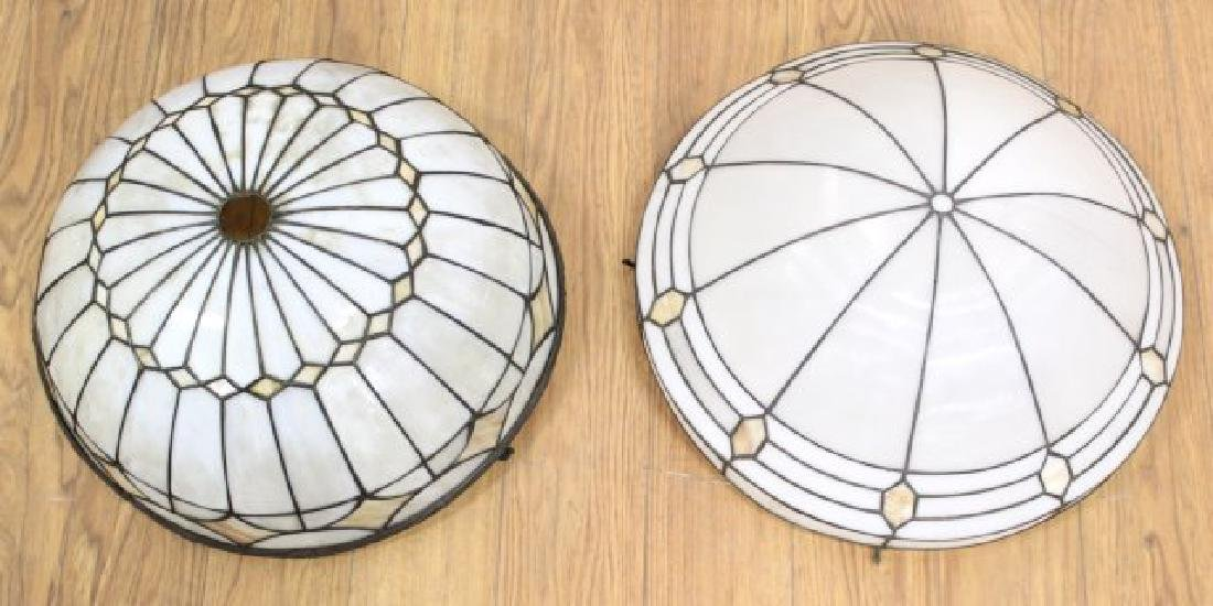 2 Arts & Crafts Leaded White Glass Shades
