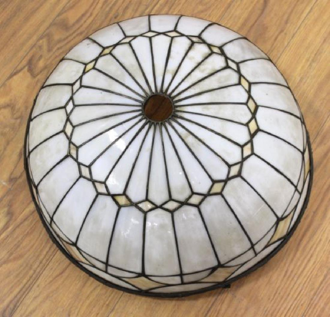2 Arts & Crafts Leaded White Glass Shades - 3