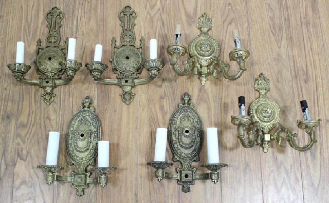 3 Pairs Gilt Metal 2-Arm Sconces