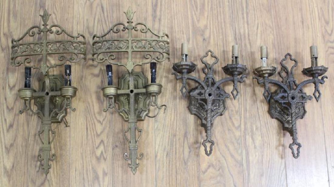 2 Pairs Gothic Style Metal 2-Light Sconces