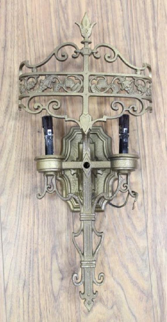2 Pairs Gothic Style Metal 2-Light Sconces - 3