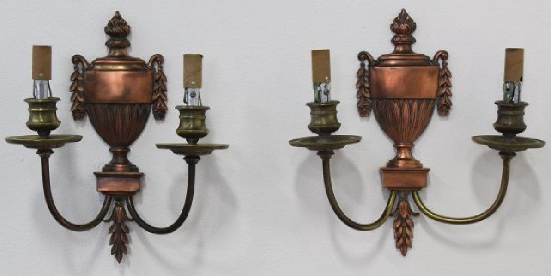 Pair Caldwell Bronze 2-Light Sconces