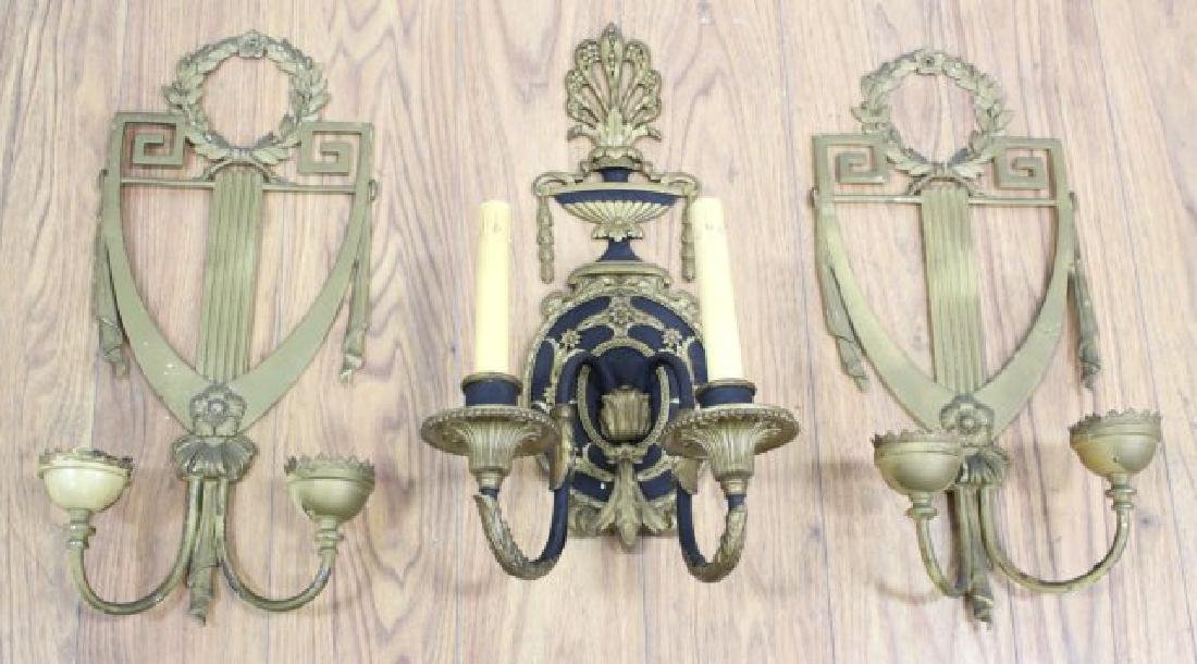 Pair Neoclassic Style Sconces & Single Sconce