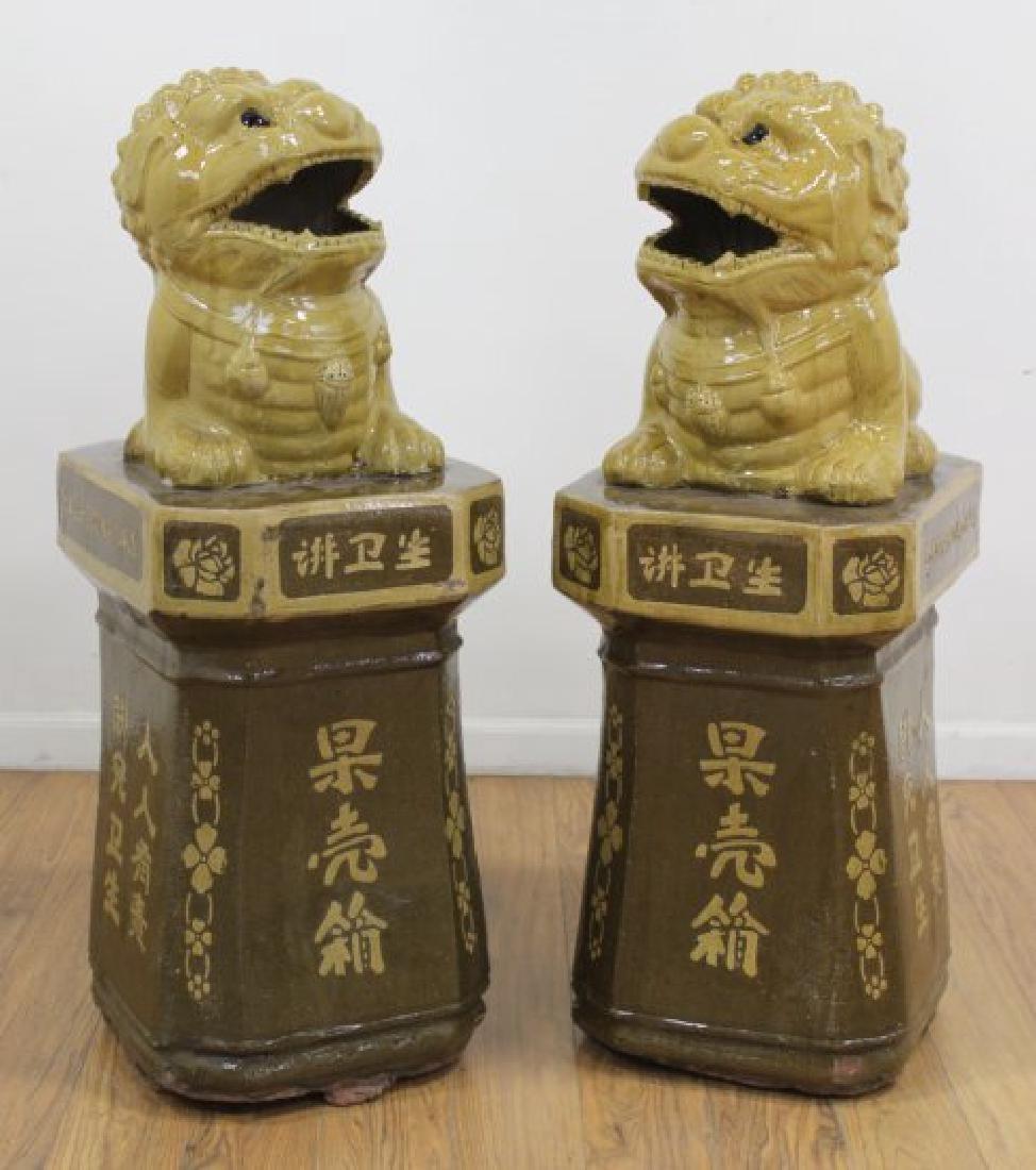 Pair Large Ceramic Foo Dogs on Pedestals
