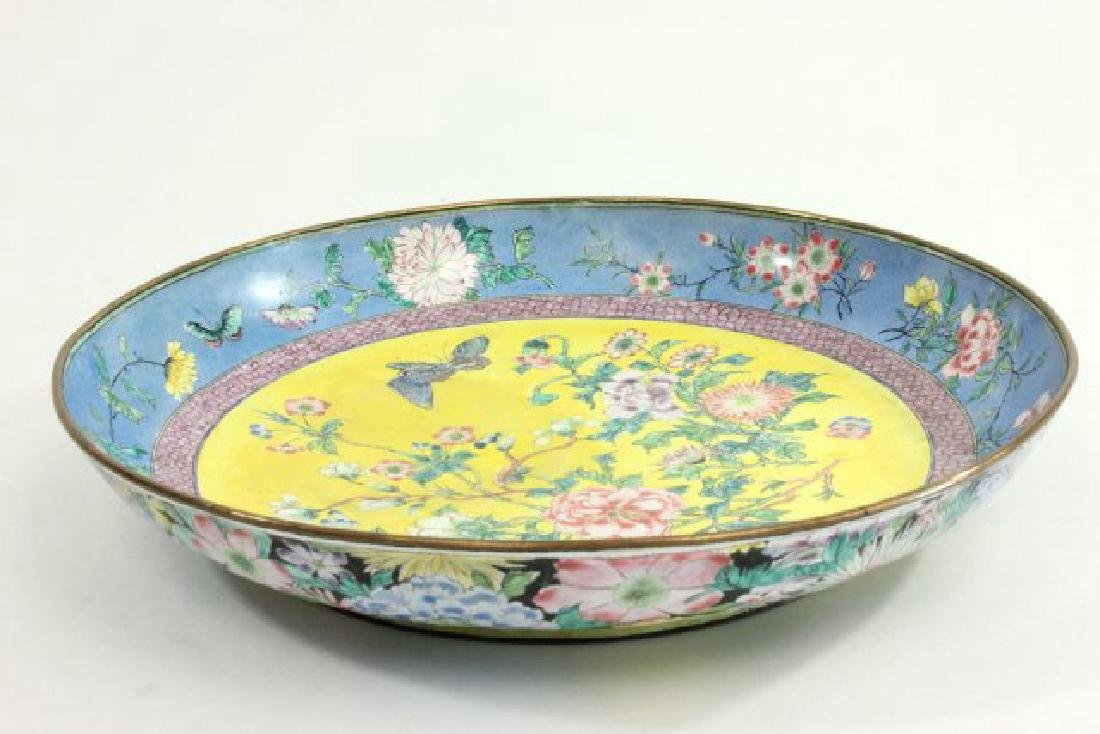 Enameled Chinese Plate with Flowers