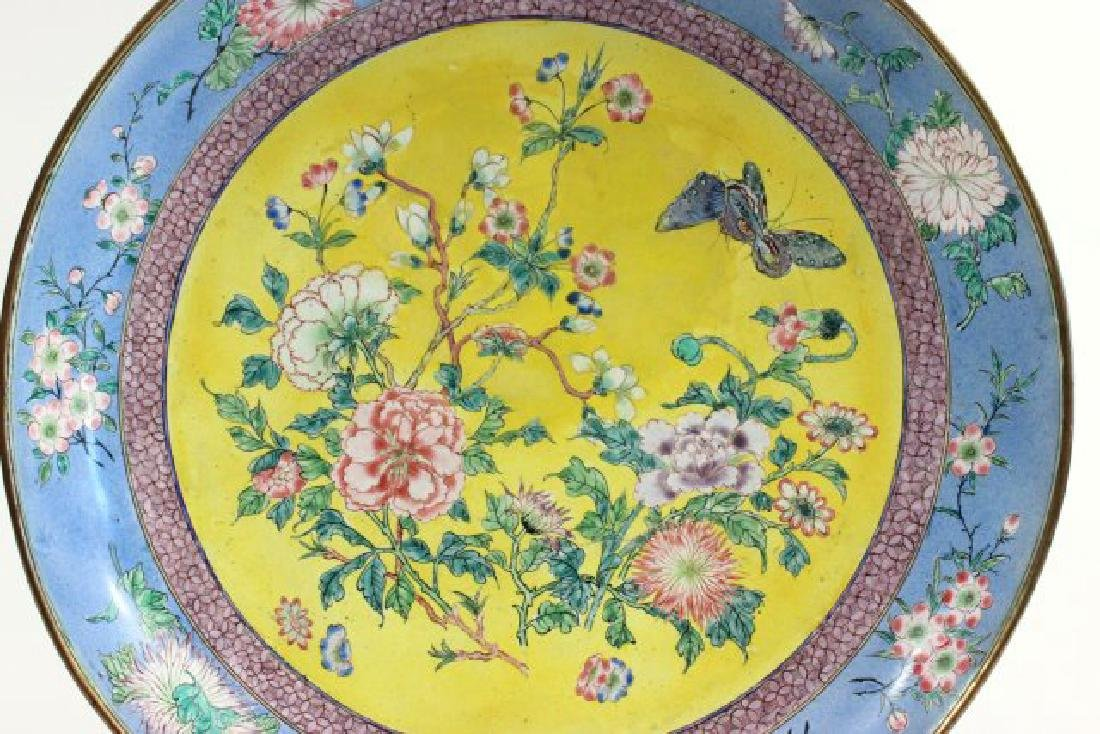 Enameled Chinese Plate with Flowers - 3
