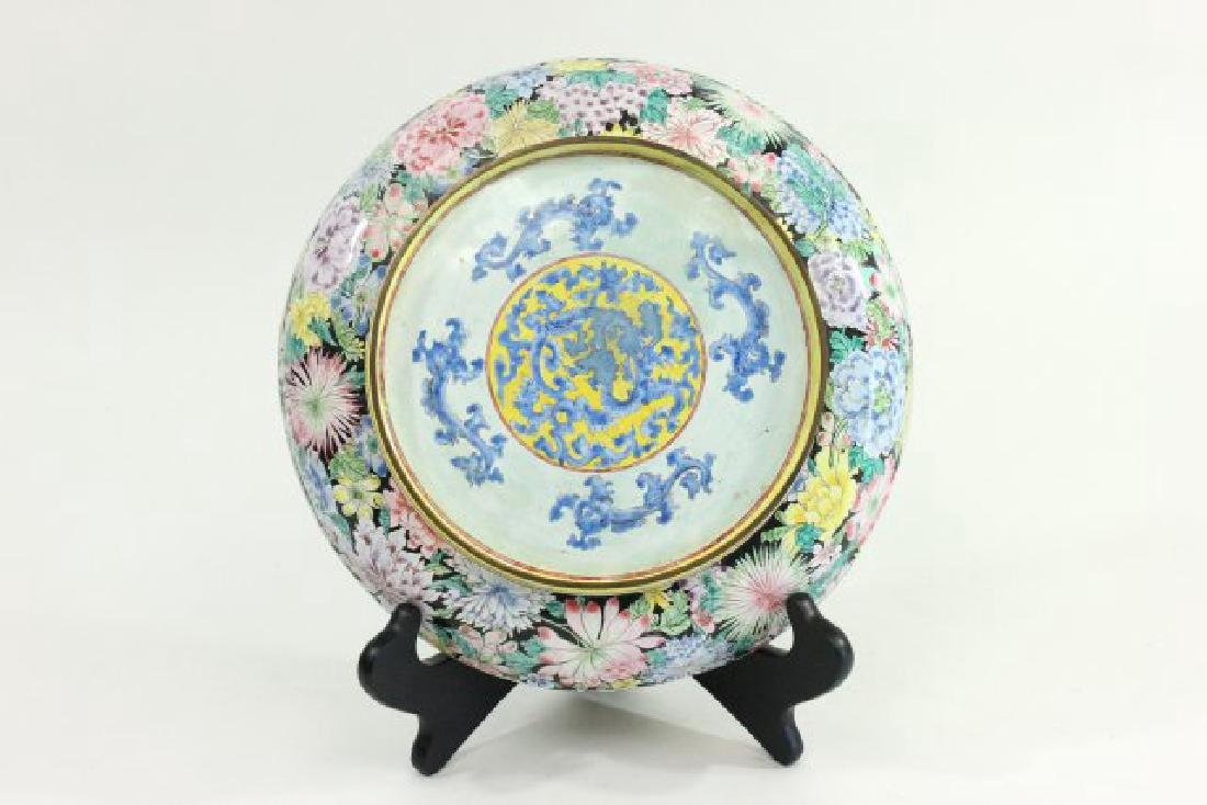 Enameled Chinese Plate with Flowers - 4