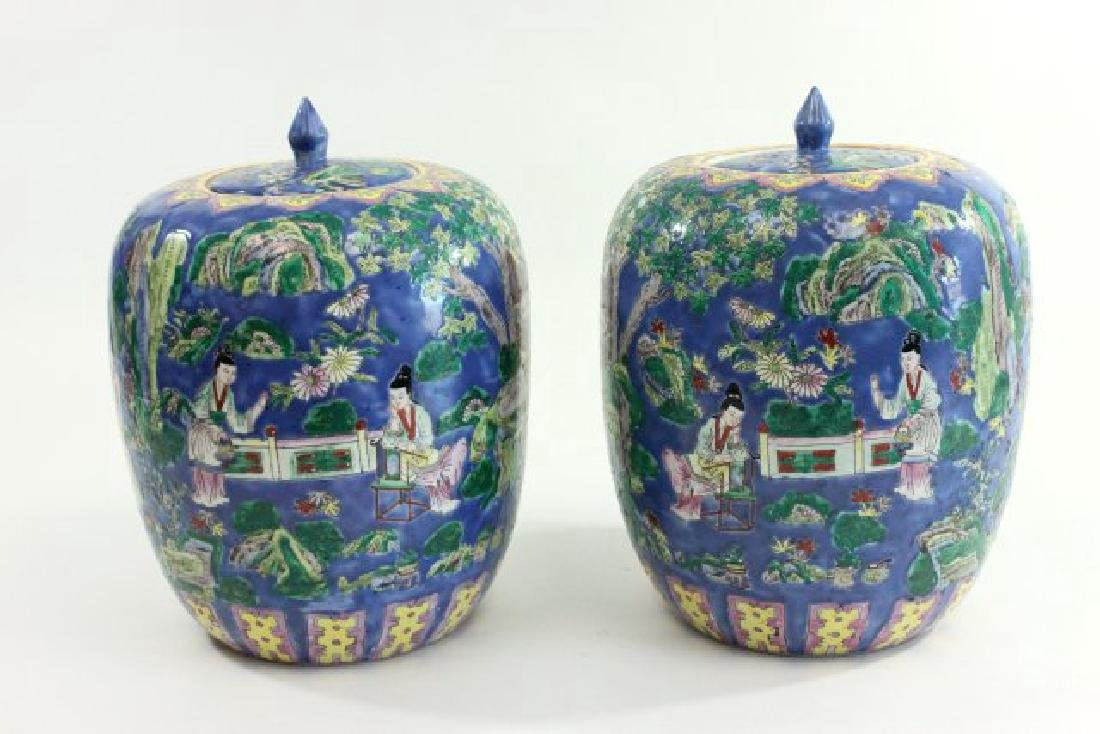Pair Chinese Porcelain Ginger Jars with Covers