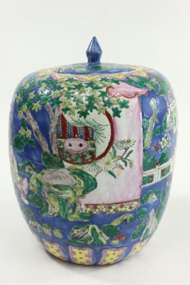 Pair Chinese Porcelain Ginger Jars with Covers - 3