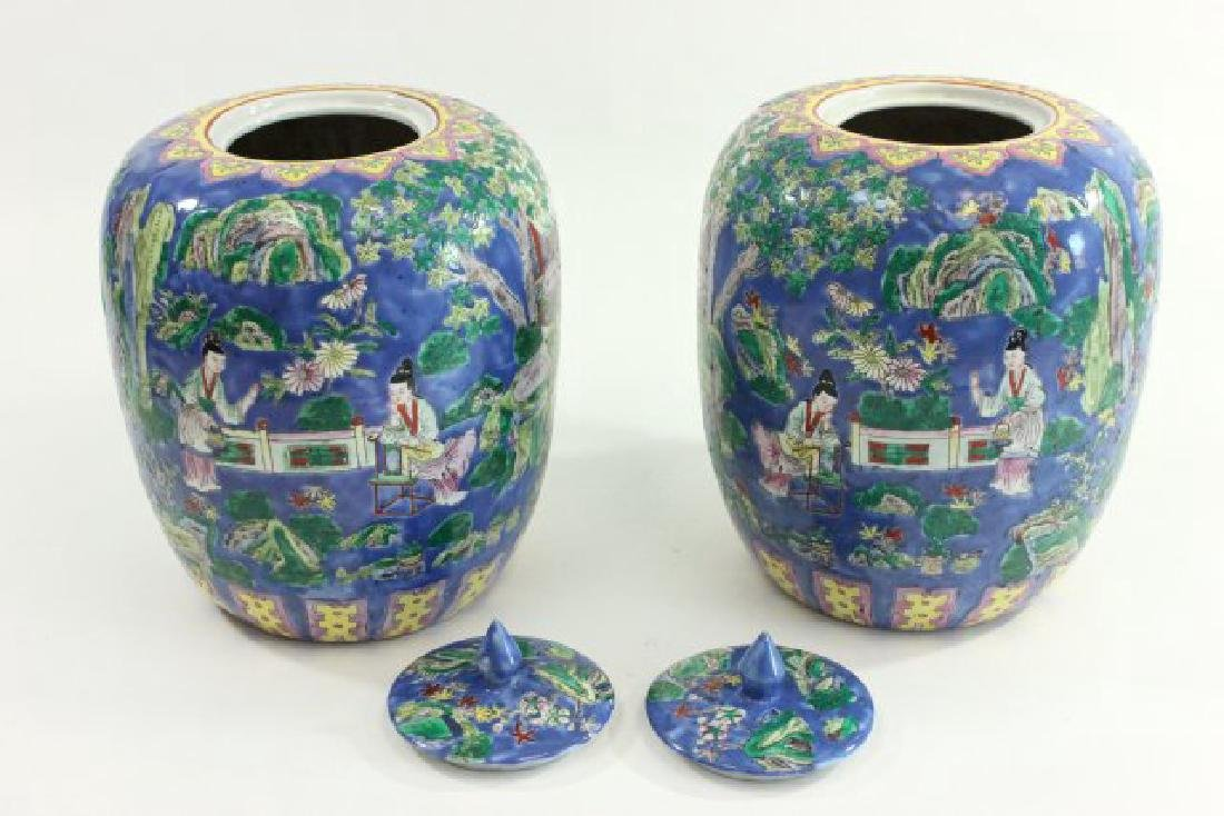 Pair Chinese Porcelain Ginger Jars with Covers - 6