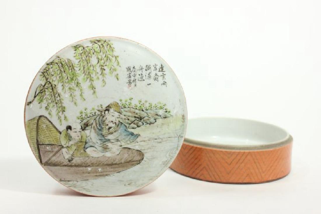 Republic Chinese Famille Rose Porcelain Box - 2