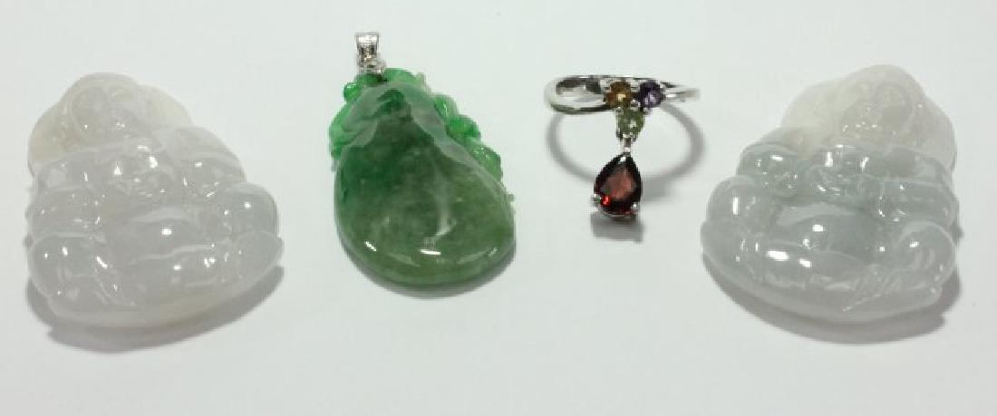 3 Jadeite Pendants & Ring