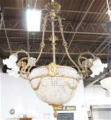 Bronze  Beaded Crystal Basket Chandelier