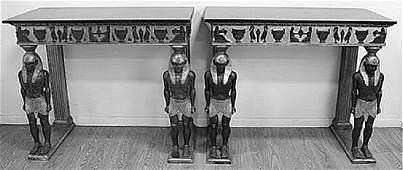 Pair Egyptian Revival Black Granite Top Consoles