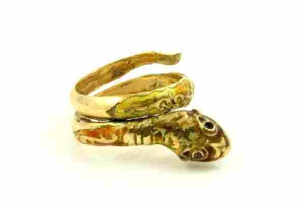 14K Gold & Enamel Snake Ring