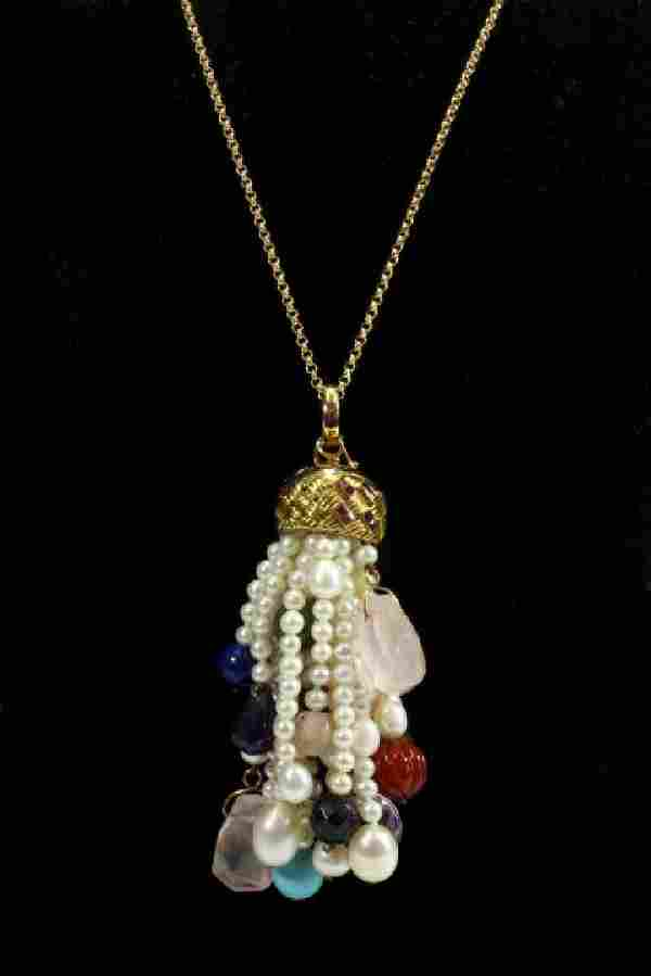 18K Gold Pearl Tassle Pendant with Stones