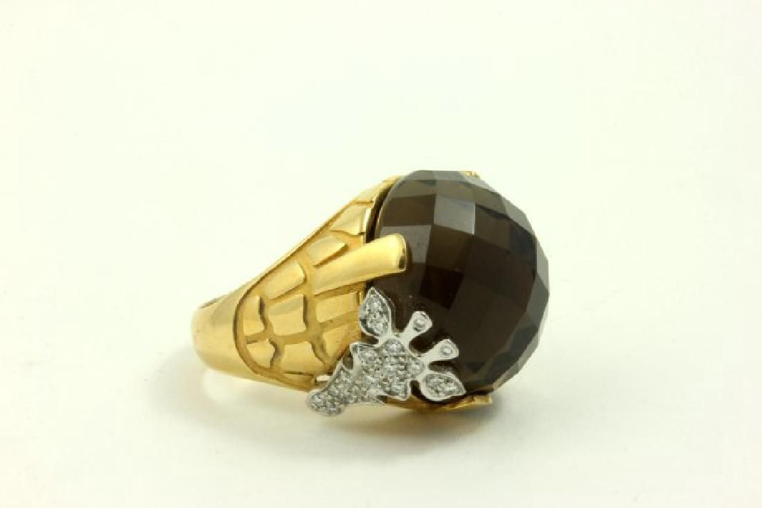 18K Gold Y. Carrera Smoky Quartz Giraffe Ring