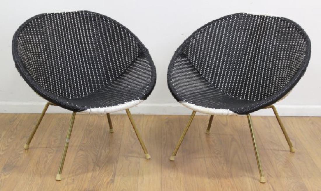 Pair Mid Century Brass Plated Steel Hoop Chairs