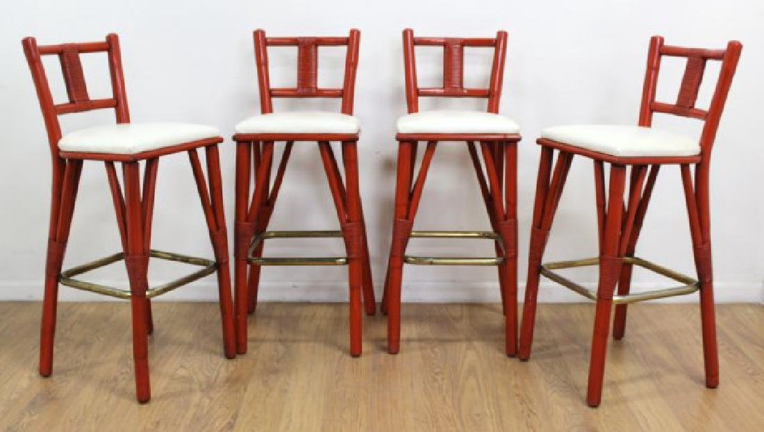 4 Red Lacquer Rattan Bar Stools