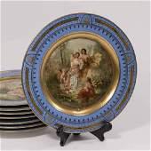 8 Austrian Paint Decorated Plates