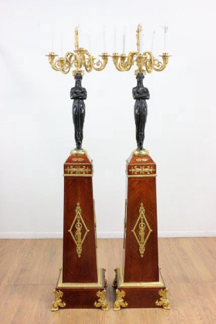 Pair 19th C. 2nd Empire Bronze Figural Torcheres
