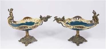 :Pair Bronze Mounted Majolica Figural Centerpieces