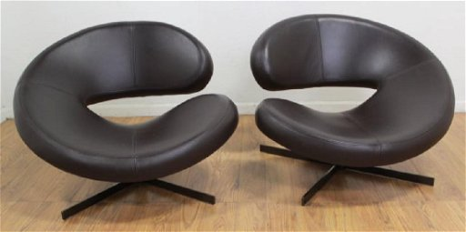 Wondrous Pair Roche Bobois Leather Swivel Chairs Bralicious Painted Fabric Chair Ideas Braliciousco