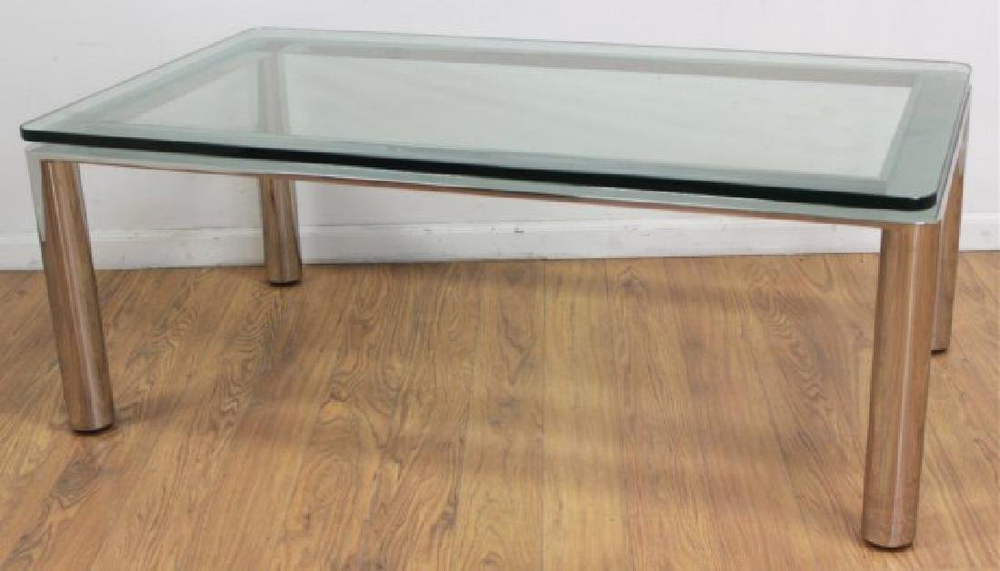 Sergio Asti Chrome & Glass Coffee Table