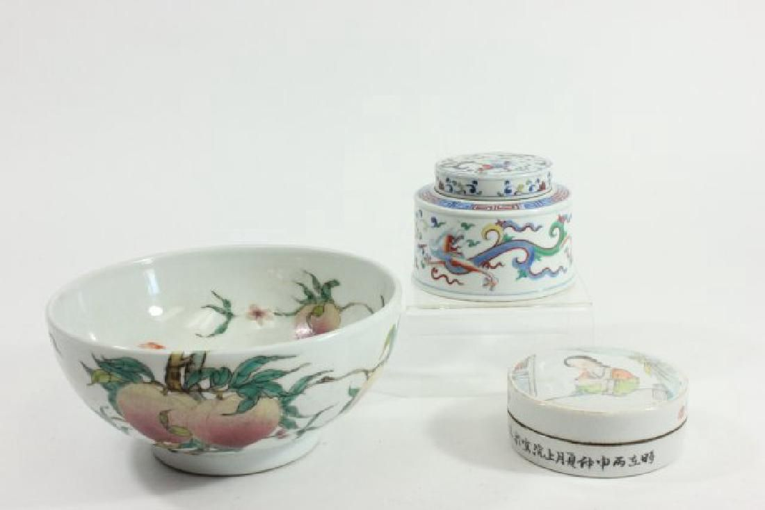 2 Covered Chinese Round Boxes & Porcelain Bowl