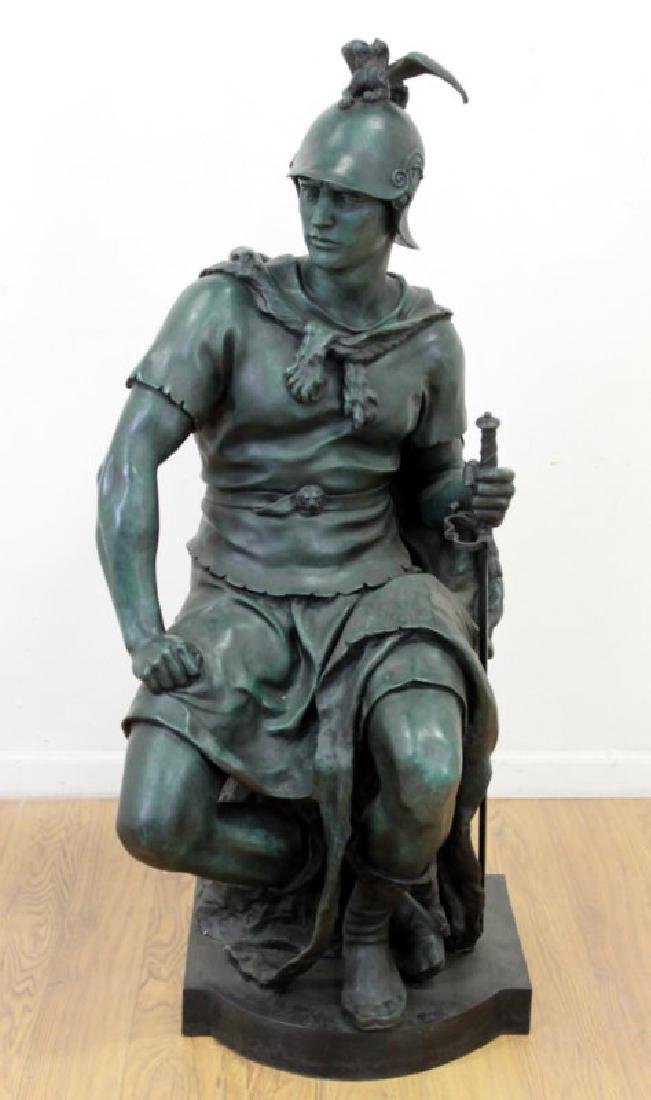 Life-Size Bronze Sculpture, Seated Soldier