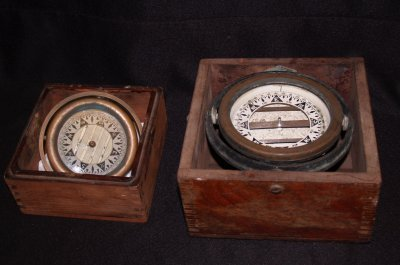 828: TWO LATE 19TH C. SHIP COMPASS'