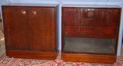 841: TWO MAHOGANY CABINETS BY GILBERT ROHDE