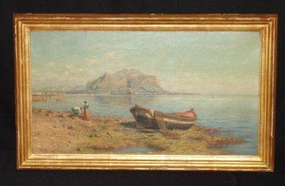 945: PAINTING OF ITALIAN FISHING SCENE