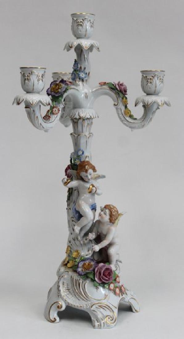 Dresden Porcelain 3-Arm Candelabra