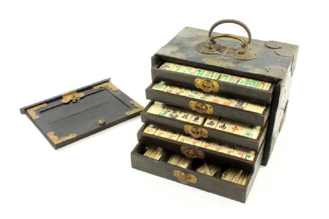 Mahjong Set in Wooden Brass Mounted Case