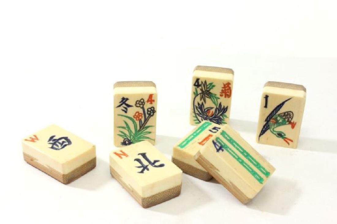 Mahjong Set in Wooden Brass Mounted Case - 2